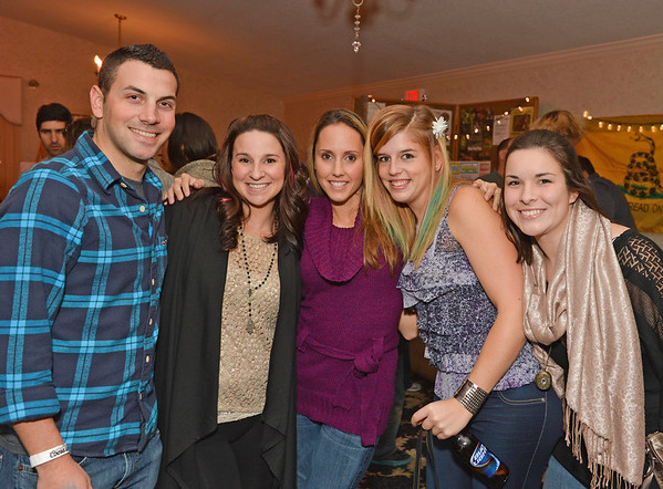 Essex:  From left to right Anthony and Lauren Giacalone, Jessica Natti, Kate Harris and Palia Doucette at Kestrel Educational Adventures/ Cape Ann Vernal Pond Team Third Annual Benefit Concert and Silent Auction held at Woodman's Essex Room November 3,2012 Desi Smith Photo.