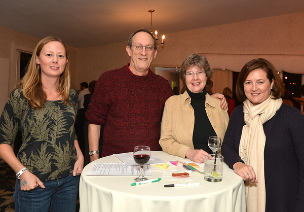 Essex:  From left to right Melissa Herron, Rob and Mary Kahn and Larissa Carter at Kestrel Educational Adventures/ Cape Ann Vernal Pond Team Third Annual Benefit Concert and Silent Auction held at Woodman's Essex Room November 3,2012 Desi Smith Photo.