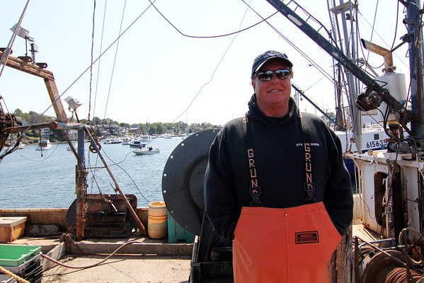 """Capt. Bill Monte of the Bounty Hunter is ready to be the subject of promotional stills and video for the second season of """"Wicked Tuna"""" being shot in mid-September, at Gloucester Marine Railways in Rocky Neck. Photo by Allegra Boverman."""