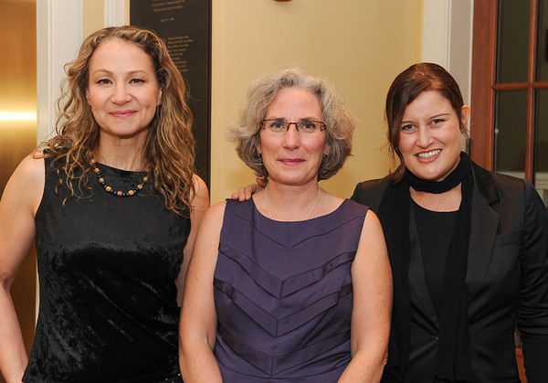 Rockport:  Grammy Award-winners Joan Osborne, left, and Paula Cole, right, were greeted by Kay O'Rourke, executive director of Wellspring House, at Wellspring's Benefit Concert at the Shalin Liu Performance Center in Rockport on Oct. 4.  Desi Smith photo