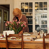 Anna Kasabian' studio  is actually spread through several rooms in her Manchester house, including her dining room and its table, and kitchen. She has  work production. Photo by Allegra Boverman.