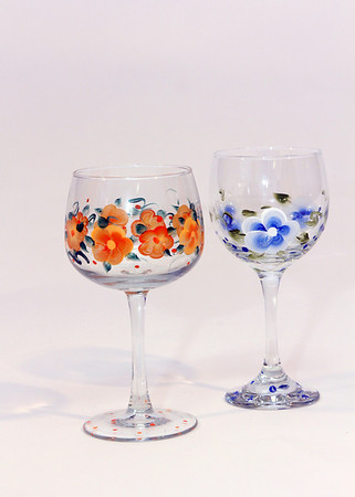 """Handpainted glasses, $15 per pair. Pauline's Gift Shop, 512 Essex Ave., Gloucester. 978-281-5558  <a href=""""http://www.paulinesgiftshop.com"""">http://www.paulinesgiftshop.com</a> Photo by Allegra Boverman.Photo by Allegra Boverman."""