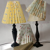 "Clever Covers. These pleated lampshade slipcovers are handmade by Ariana Barron of Rockport, and of La Provence, 4 Main Street, Rockport. They adjust to fit over an existing lampshade of any shape. Two sizes, 12 inches, $26, (left and center back) and 9 inches, $22, (right) with adjustable width. Shade at bottom is folded. Also available at  <a href=""http://www.shopclevercovers.comPhoto"">http://www.shopclevercovers.comPhoto</a> by Allegra Boverman."