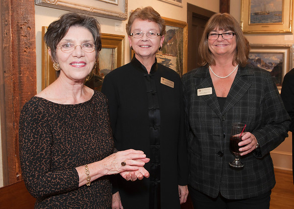 Rockport: Executive Director of the RAA Corol Linsky, Gail Ramos and Kathy Williams at the Gala for Aldro Hibbard exhibit at Rockport Art Association. Desi Smith/Gloucester Daily Times. October4, 2012