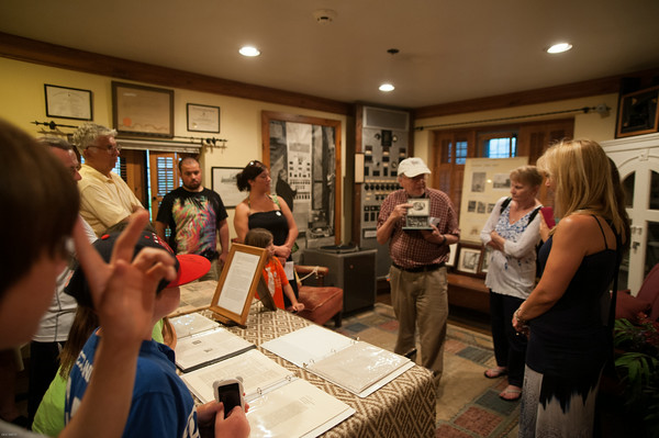 DESI SMITH/Staff photo<br /> John Pettibone shows some of John Hammond's inventions and patents on a tour at Hammond Castle