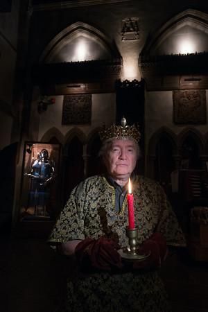John Pettibone leads a candlelit tour at Hammond Castle.