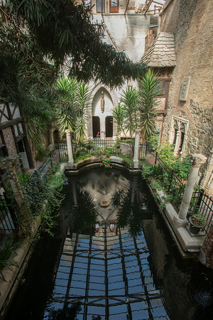 DESI SMITH/Staff photo. <br /> The glass roof of Hammond Castle's cloister is reflected in John Hammond's indoor saltwater pool.