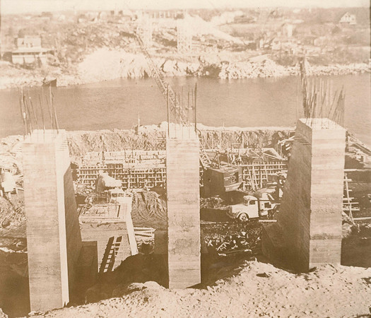 Gloucester Daily Times file photo<br /> The cement pillars that would support the A. Piatt Andrew Bridge are built in 1950 in Gloucester. The the longest, highest span in the 57 miles of Route 128 built to girdle Greater Boston a half century ago tied Gloucester to the mainland.