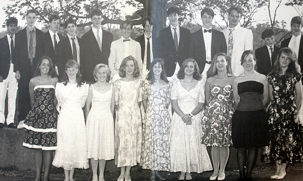 Allegra Boverman/Cape Ann Magazine. Nat Faxon is at top center wearing a bow tie in the Brookwood School yearbook from 1989.