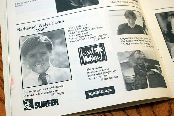 Allegra Boverman/Cape Ann Magazine. Nat Faxon's half-page in the Brookwood School yearbook from 1989.
