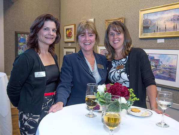 From left to right, Holly Wieckowski, Clair MacDonald and Marie Testaverde of the Cape Ann Savings Bank, attended the Appraise for Art event sponsored by Cape Ann Savings Bank in collaboration with the North Shore Arts Association and held there on Friday  June 14th.    Desi Smith Photo