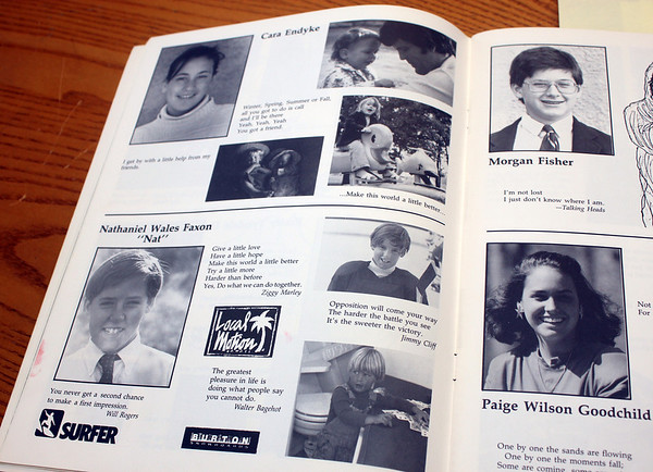 Allegra Boverman/Cape Ann Magazine. Nat Faxon's half-page at lower left, in the Brookwood School yearbook from 1989.