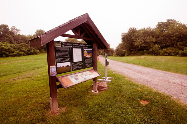 Jim Vaiknoras/Cape Ann Magazine. The information sign at the Cox Reservation in Essex.