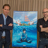 "Desi Smith/Cape Ann<br /> Manchester Nat Faxon, left, and friend, cowriter, and codirector Jim Rash pose with the poster for their movie, ""The Way Way Back."""