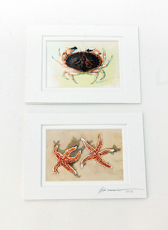 Watercolors, $15 each unframed, $24 each framed, by Bob Searle of Rockport for Sea Star, 38 Bearskin Neck Road, Rockport. 978-309-8410.Photo by Allegra Boverman.