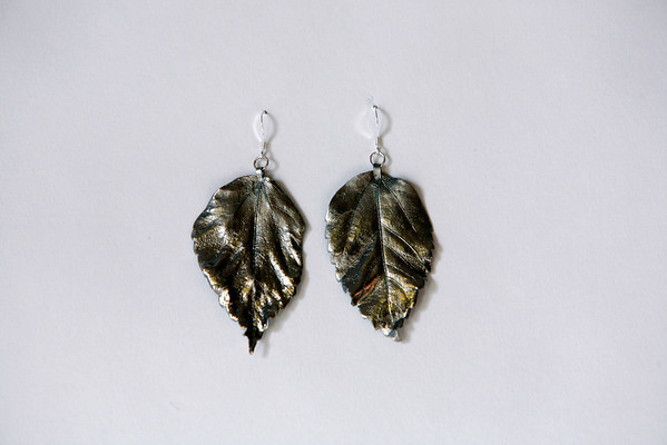 Siver-dipped leaf earrings, $15, by Wendy Monahan of Sea Star, 38 Bearskin Neck Road, Rockport. 978-309-8410. Photo by Allegra Boverman.