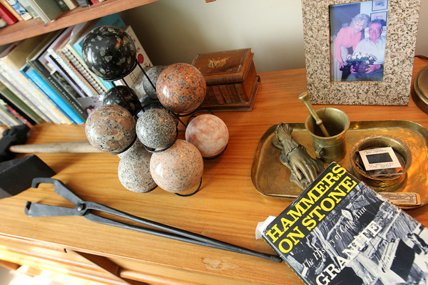 One of Barbara Erkkila's books amongst her granite pieces and tools. Photo by Allegra Boverman.