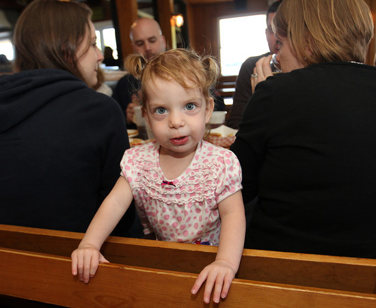 Molly Pietal, 1, of Ipswich, at lunch at Woodman's with her family and friends. Photo by Allegra Boverman.