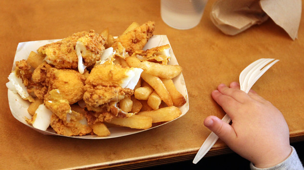 Kid-sized fried fish boat for Chloe Pecci. Photo by Allegra Boverman.