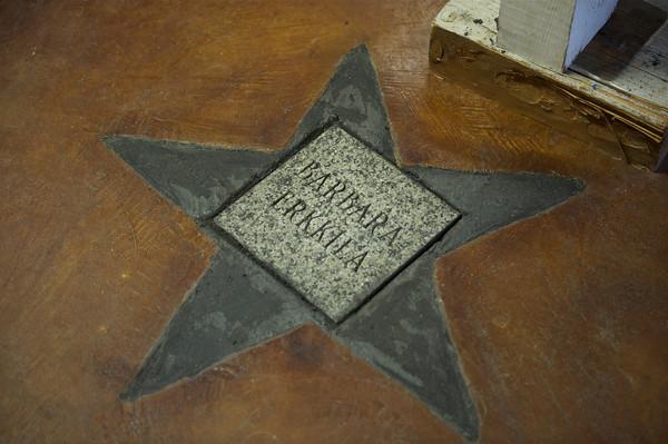 Barbara Erkkila got a star placed into the floor at the Lanesville Community Center.  Desi Smith Photo