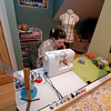 Amanda Thurston of Rockport is at work on one of her soft pillow blocks at her sewing machine. Founder of Pink Armor by Amanda, she can create anything out of her sewing machine, material and thread.<br /> Photo by Jim Vaiknoras