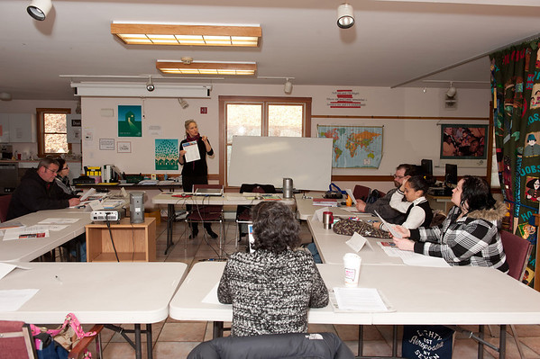 Jen Kirk, from North Shore Community College, talks about career development, at the Wellspring House.<br /> Photo by Desi Smith