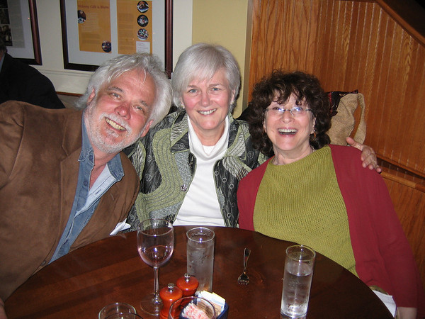 """David Arsenault (left) who played the role of Sir Toby Belch in a recent show of """"Twelfth Night"""" takes time out to sit with Sue Small, center, and Laurie Arsenault at Alchemy Bistro."""