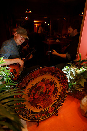 The Woodpeppers perform at Jalapenos every Tuesday from 7-9pm. Members of the band are: Dan King, left, Wolf Ginandes, center, and David Brown, right. Photo by Kate Glass