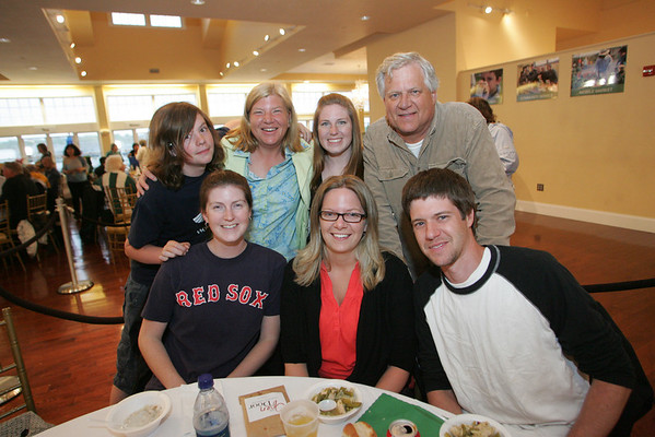 Gloucester: From left, top row, Zack Lane, Heidi Lane, Meag McKenna,  and Peter Lane. Bottom row, Shana Grimes, Ellen Lane and Jeff Lane attend the Open Door/Cape Ann Food Pantry's nineth annual Empty Bowl Dinner held at Cruiseport. Mary Muckenhoupt/Staff Photo