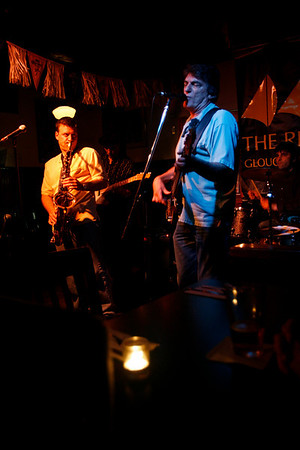 Dave Sag's Blues Party performs at the Rhumb Line every Thursday night. The band is comprised of Dave Saginario, bass, Greg Tower, guitar, and a rotating cast of guest musicians. Photo by Kate Glass<br /> <br /> Mario Perrett on tenor, left, and Dave Saginario on bass, right