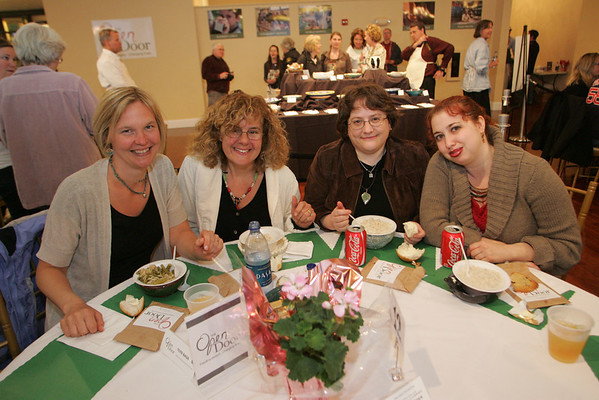 Gloucester: Tracie Kaeplin, Izzy Young, Linda Furey and Susanna Chilnick attend the Open Door/Cape Ann Food Pantry's nineth annual Empty Bowl Dinner held at Cruiseport. Mary Muckenhoupt/Staff Photo