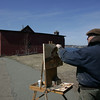 Gloucester: Gloucester artist Jeff Weaver paints the Paint Factory on Rocky Neck. Mary Mucknhoupt/Staff Photo