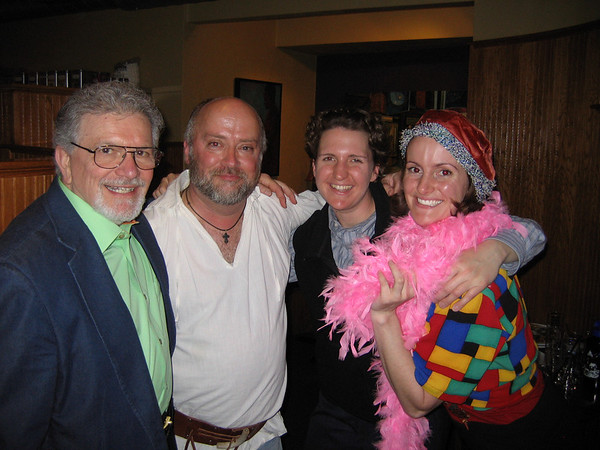 "Joseph Stiliano (left), artistic director of the Cape Ann Shakespeare Troupe, stands with troupe actors from left to right David Prentice, Elinor Teele and Elizabeth Condon, who were rehearsing scenes from ""Twelfth Night."""