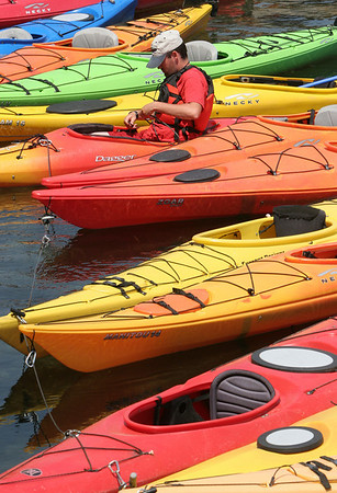Rockport: J.T. Skeen, a kayak instructor at North Shore Kayak in Rockport. Photo by Mary Muckenhoupt