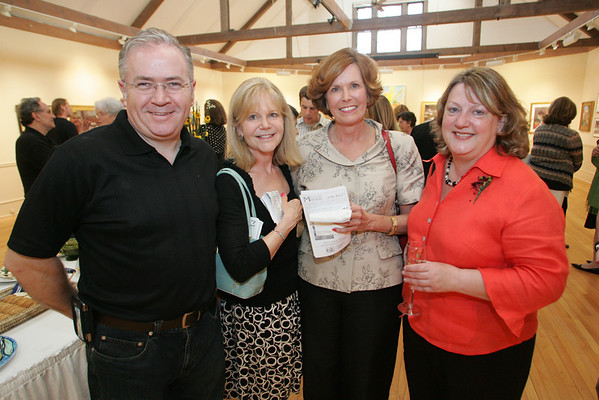May 15, 1009 Rockport: From left, Neal Goddard, Lynn Murray, Cynthia Mitchell and Joan Lockhart attend the Arts and Flowers Gala at the Rockport Art Association Friday night. Mary Muckenhoupt/Staff Photo