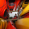 Essex: Tours at ERBA (Essex River Basin Adventures) start at their Main Street office. Christ Osburn, former manager,  loads the kayaks on a trailer. Everyone is fitted for a kayak and life jacket before heading to the water. Staff photo/Mike Dean.