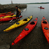 Essex:<br /> Joe Tortora, left, and Kyle Loehr, arrive at Conomo Point after a guided trip to Crane's Beach with Essex River Basin Adventures in Essex. Tortora and Loehr are both with the Merrimack Special Education Collaborative in Topsfield.