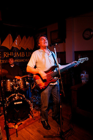 Dave Sag's Blues Party performs at the Rhumb Line every Thursday night. The band is comprised of Dave Saginario, bass, Greg Tower, guitar, and a rotating cast of guest musicians. Photo by Kate Glass<br /> <br /> Dave Saginario on bass and vocals. Leo Sharamitaro on drums.