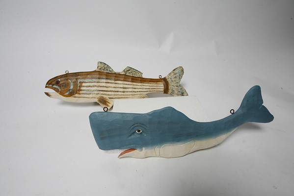 These hand-painted and hard-carved items are Fair Traded and made out of Philippine mahogany. Pictured here is a 20-inch Sperm Whale, $48.95 and a 24-inch Striper or Striped Bass, $55. There are an assortment of sizes (up to five feet) of both tropical fish and North Atlantic types, which can be hung or placed to decorate any patio or room with a marine flair. Available at Menage Gallery of Fine Artists and Artisans at 134 Main St. in Gloucester.