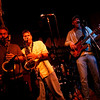 Dave Sag's Blues Party performs at the Rhumb Line every Thursday night. The band is comprised of Dave Saginario, bass, Greg Tower, guitar, and a rotating cast of guest musicians. Photo by Kate Glass<br /> <br /> Dueling tenors Mark Earley, left, and Mario Perrett, center, are joined by Ned Nugent on bass