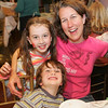 Gloucester: Jane Cunningham pictured with two of their three children, Cole, 5, and Aidan, 7, attend the Open Door/Cape Ann Food Pantry's nineth annual Empty Bowl Dinner held at Cruiseport. Mary Muckenhoupt/Staff Photo