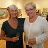 Rockport: Brenda Ahlstrom, left, and Gloria Hart attend the Arts and Flowers Gala at the Rockport Art Association Friday night. Mary Muckenhoupt/Staff Photo