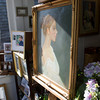 "A portrait titled ""Jucinta"" painted by Luisa F.V. Cleaves that is displayed in the front window of Cleaves' Rockport Gallery. Photo by Mary Muckenhoupt"