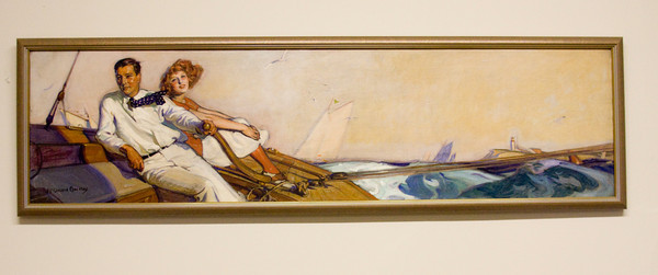McClelland Barclay (1891–1942) was an American painter of pin-up art. Born in St. Louis in 1891, Barclay studied first at the Art Institute of Chicago. This painting was found in a home on Way Road in Gloucester and hangs in the adminstrative part of Cape Ann Savings Bank on Main Street, Gloucester.