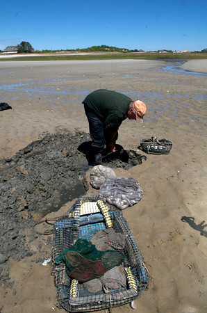 Jack Montoni, uses his clamming fork to pull back the mud to find clams to sell to a dealer.<br /> Photo by Desi Smith.
