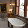 The master bath in the Vastola's home that was once the Carnegie Library. Photo by Mary Muckenhoupt