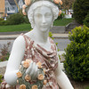 The former Carnegie Library, now a residence, is also home to a statue of Flora, the Roman goddess of spring and flowers, carved from Italian marble. She provides a focal point to the Jewett Street property, which was renovated by David and Gail Vastola. Photo by Mary Muckenhoupt