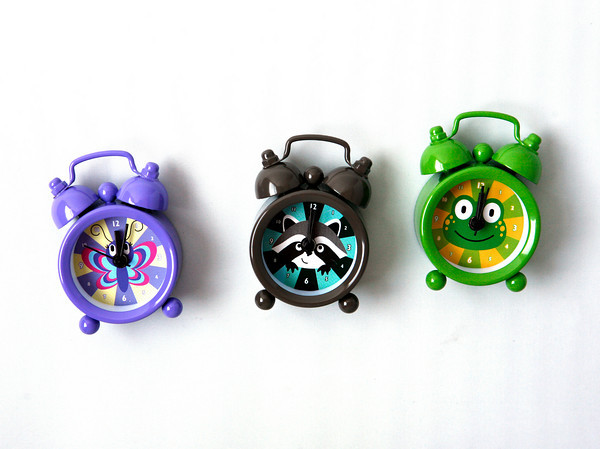 Time flies on vacation, so don't forget to pack these mini travel alarm clocks that come with racoon, frog or butterfly designs, Silly Goose, $11.95.