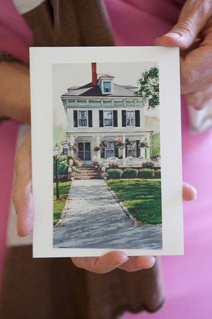A print of the Roell's Rockport home that also hangs on the wall of their living room as a painting. Photo by Mary Muckenhoupt