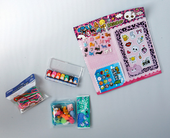 Crazy Shapes<br /> The latest craze for the kids are rubber bands that come in all sorts of shapes, cars, animals and more, Silly Goose, $2.95.<br /> <br /> Tiny erasers are perfect for kids who like to draw in the car, Silly Goose, mushroom, $3.95, penguin, $2.95.<br /> <br /> Stick it to 'em<br /> With this sticker set. Small and portable, Silly Goose, $2.95.